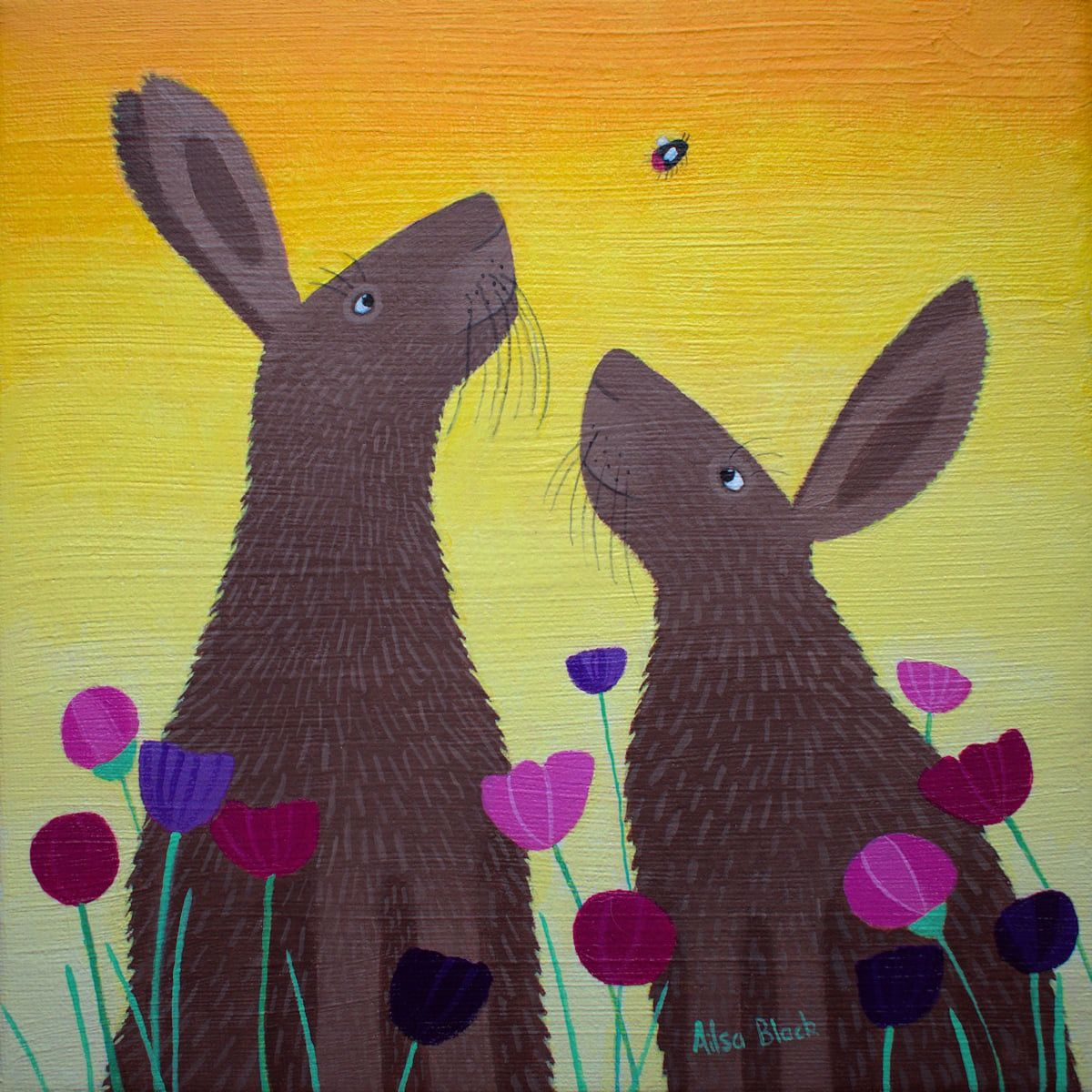 An original painting of two hares and a bee.