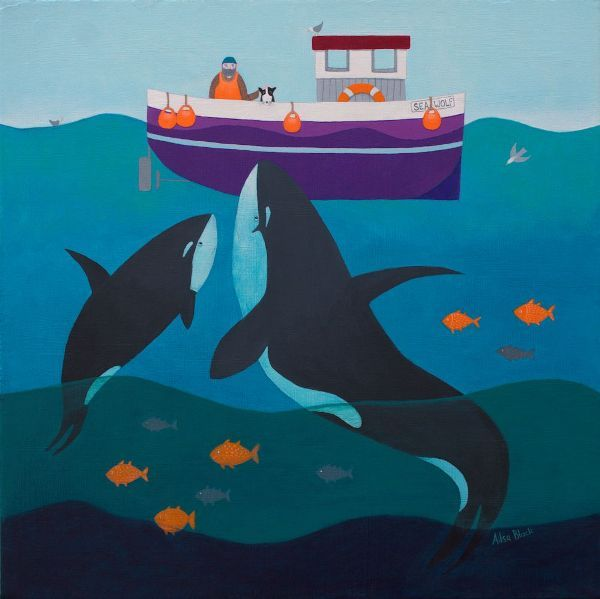 A painting avavilable for licensing  of two killer whales underneath a fishing boat.