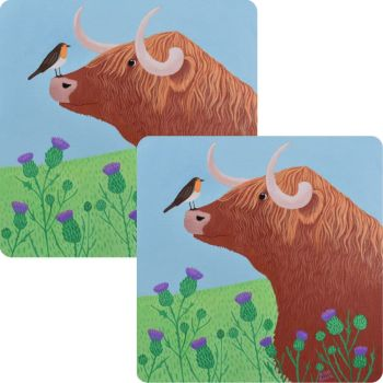 """""""Hairy Coo"""" Set of 2 Highland Cow Placemats"""