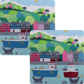 """""""The One That Got Away"""" Set of 2 Colourful Coastal Placemats"""