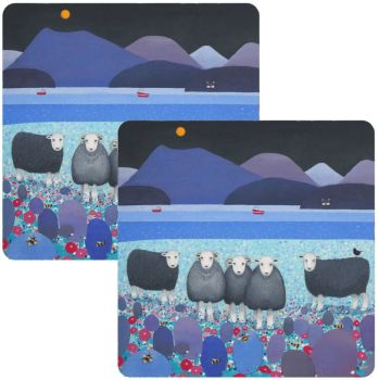 """""""Contemplation"""" Set of 2 Colourful Herdwick Sheep Placemats"""
