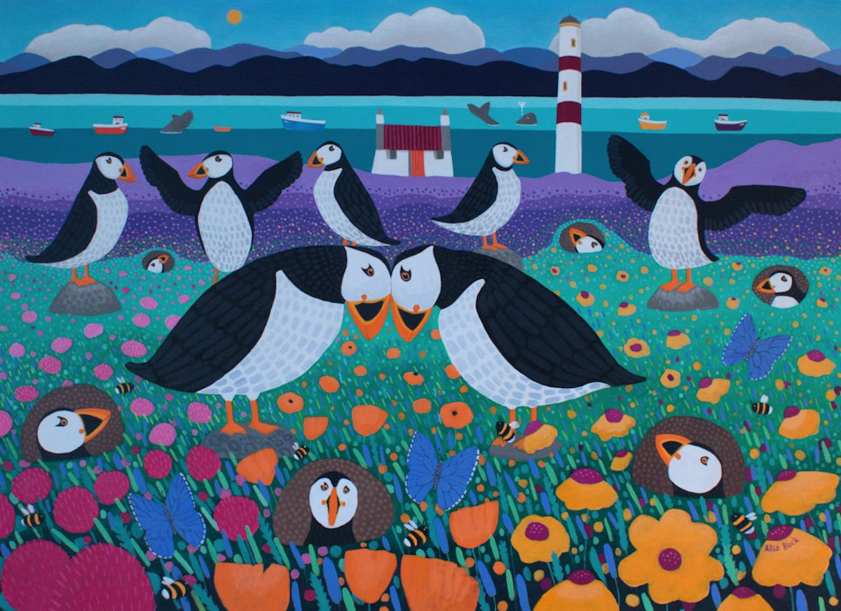 Puffinry painting of puffins
