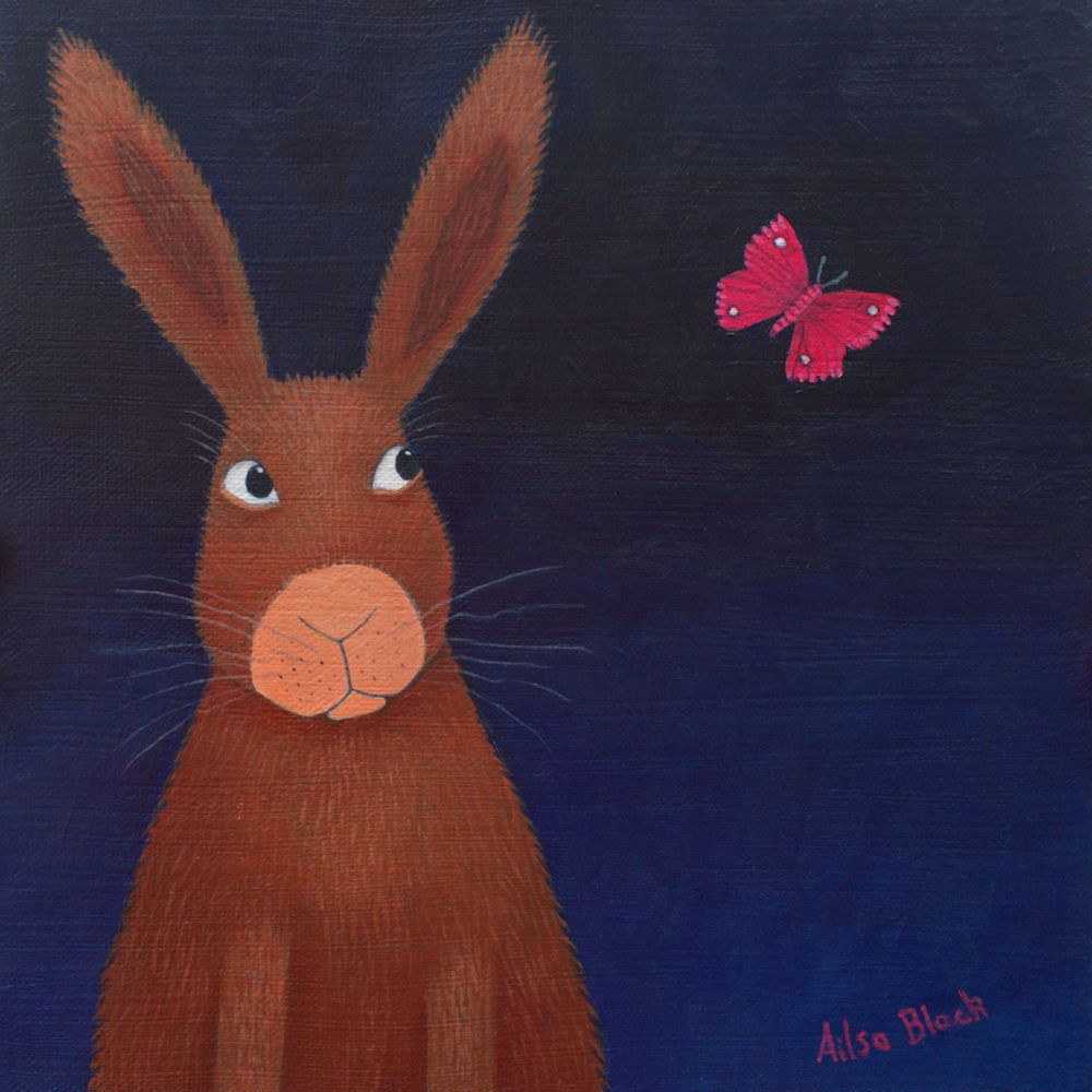 Observation - Hare and Butterfly Original Painting for Sale
