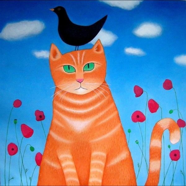 marmalade cat painting with a bright blue background