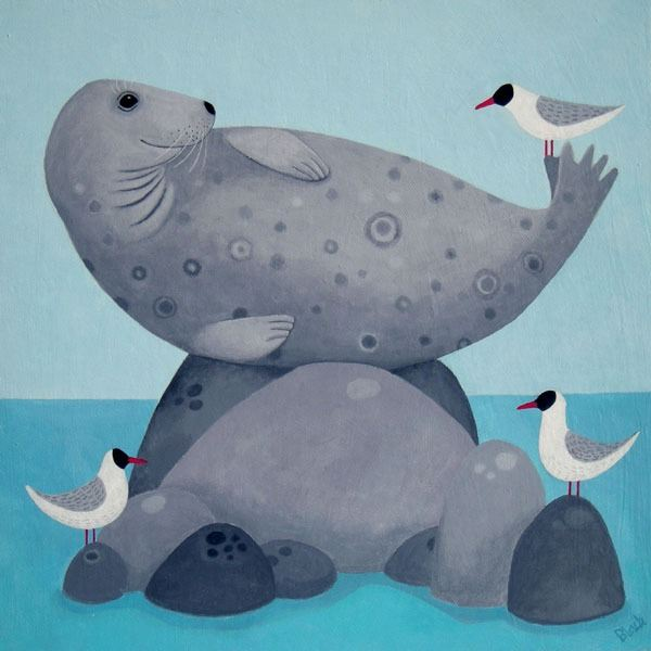 a seal sits on rocks in the middle of the sea a painting by ailsa black