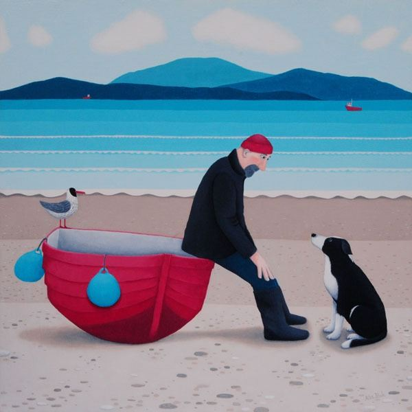 A man and his collie dog have a chat on the beach. A painting by Ailsa Black.