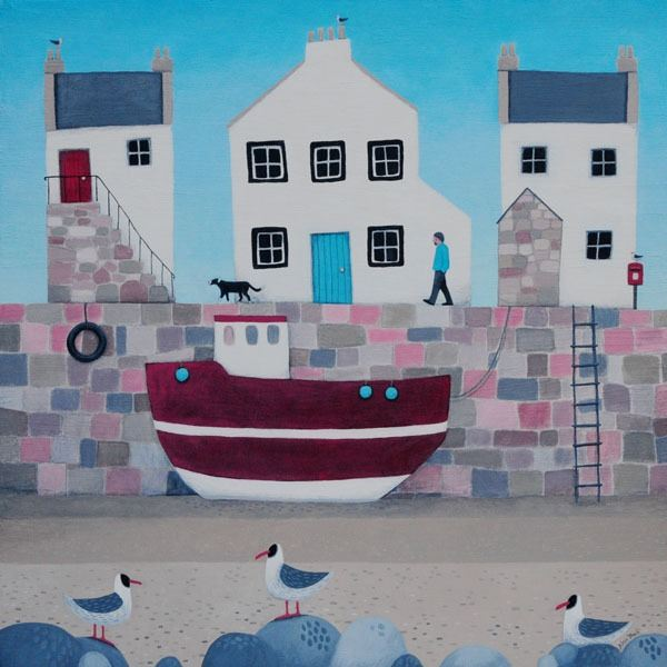 The tide is out in this coastal painting of a harbour and fishing boats.