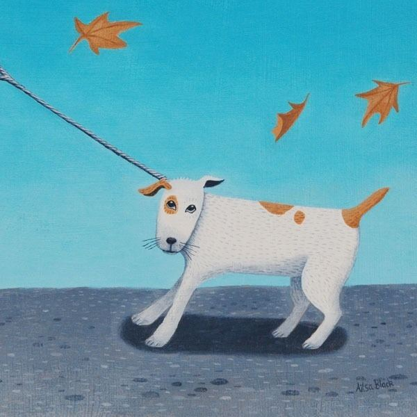 a painting of a reluctant dog walking in the wind