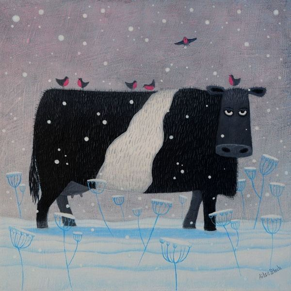 A painting of a Belted Galloway Cow in the snow with robins flying aroundby Scottish Artists Ailsa Black