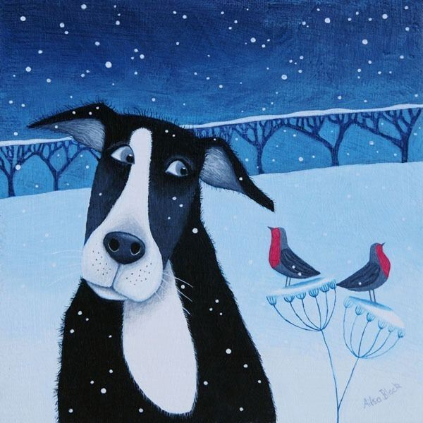 A humorous painting of a collie dog and a robin in the snow by Scottish Artist Ailsa Black