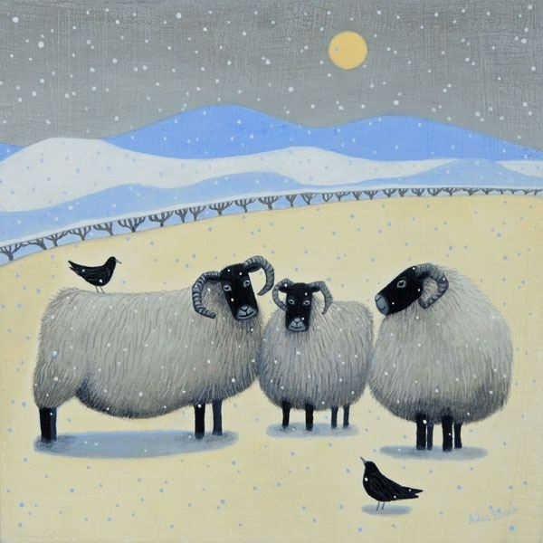 Black faced sheep huddle in the snow  in this painting by Scottish illustrator Ailsa Black