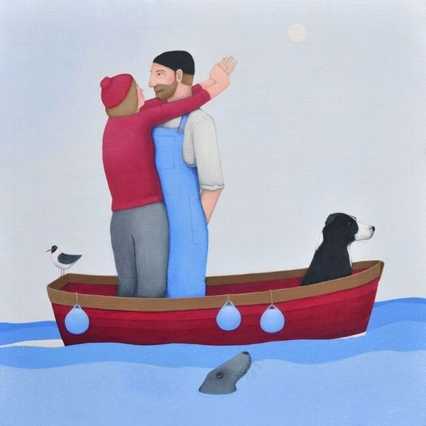 A painting of a romantic couple in a boat at sea with their collie dog.