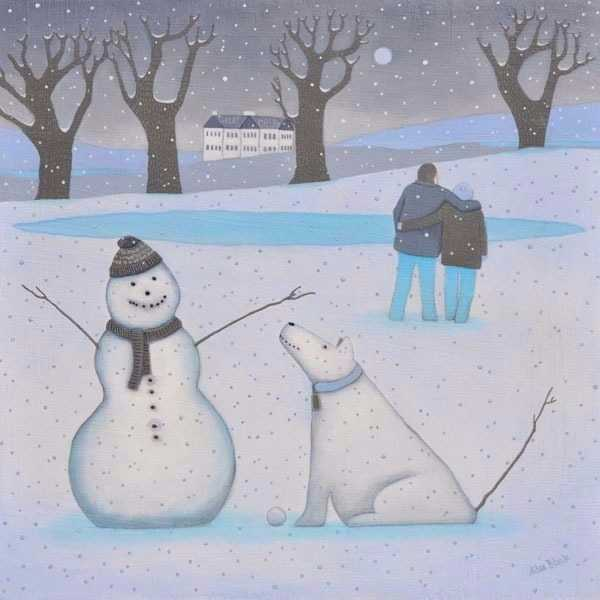 A painting of a snowman and snowdog - a pretty winter snow scene/