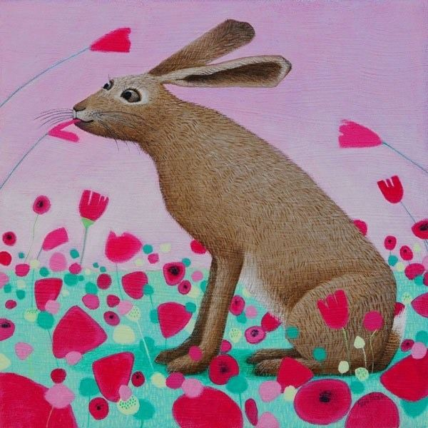 rabbit eating poppieson a pink background painting