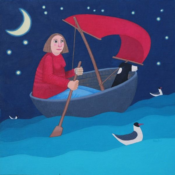 A woman and her collie dog set sail in a corracle bound for an adventure in this painting by Scottish  artist Ailsa Black.