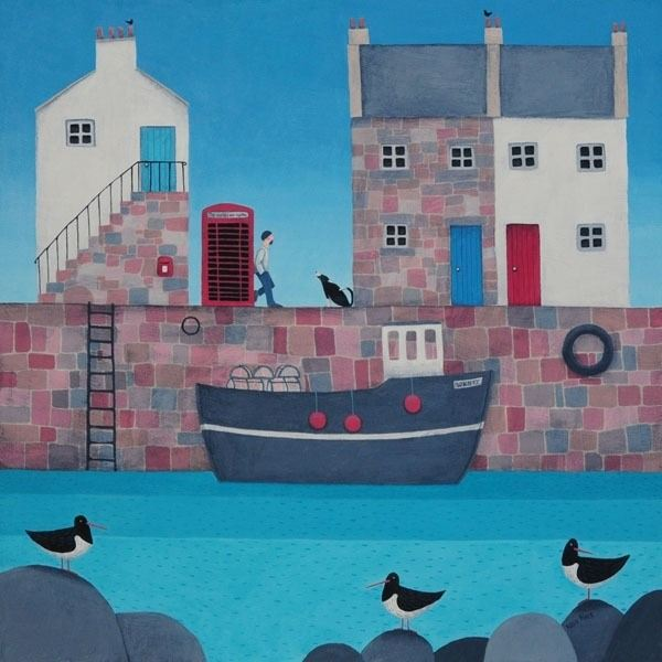 A painting of a harbour scene with a red telephone box and fishing boats by the sea.