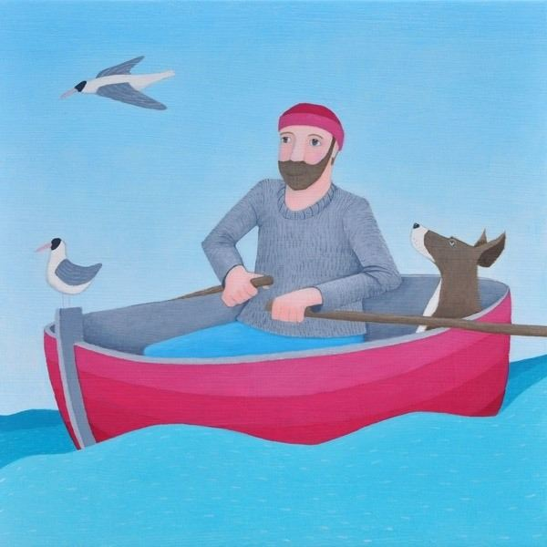 A painting of a man at sea with his labrador in a sailing boat