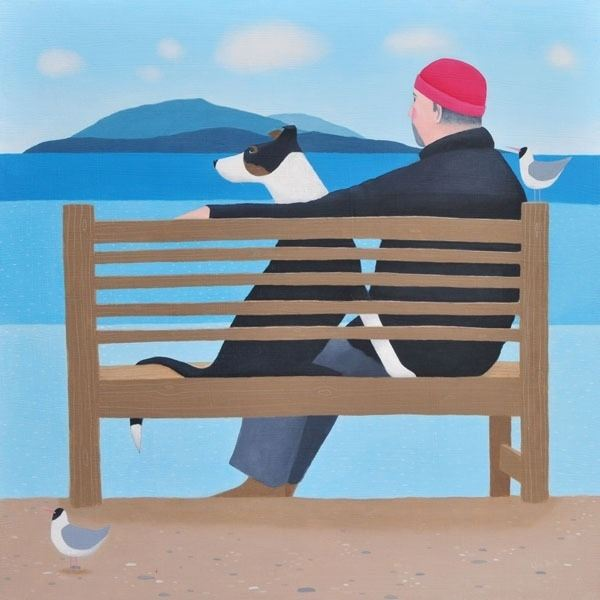 A man and his collie dog sit on a banch looking out to sea in this painting by Ailsa Black