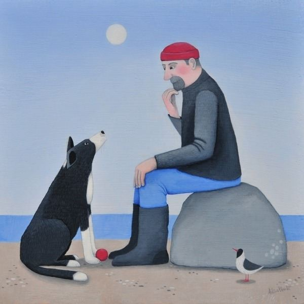 A man and his collie dog discuss plans for the day in this painting by Ailsa Black.