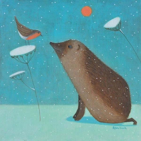 A colourful painting of a hedgehos in the snow with a robin.
