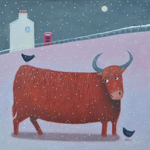A painting of a Highland Cow in the snow.