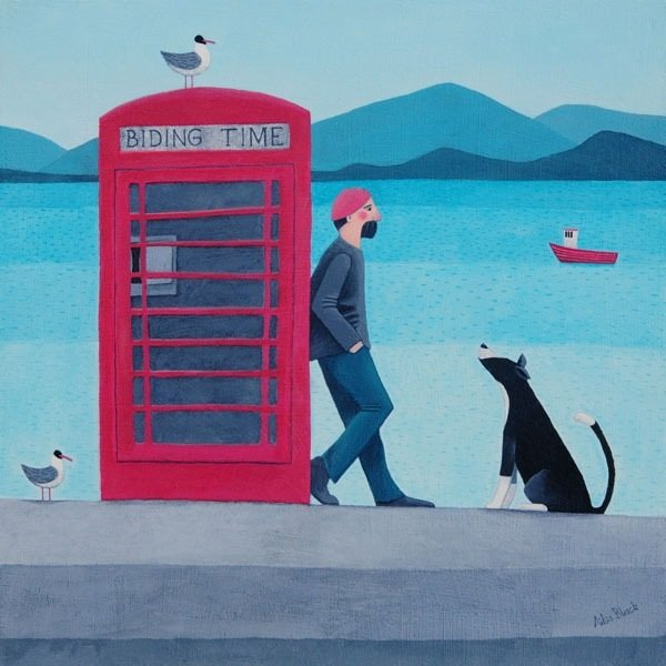 A man and his collie dog stand by the side of a phone box in this Scottish painting by Ailsa Black