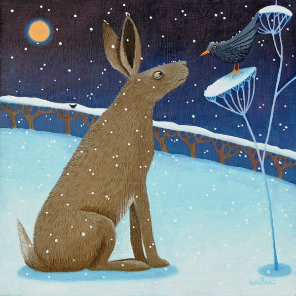 A popular painting of a hare and a blackbird in the snow.