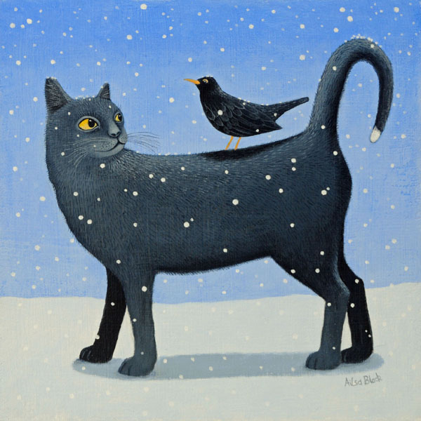 A snow scene painting of a black cat in the snow with a blackbird sitting on it's back.