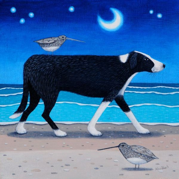 a painting of a collie dog out on the randan exploring at night
