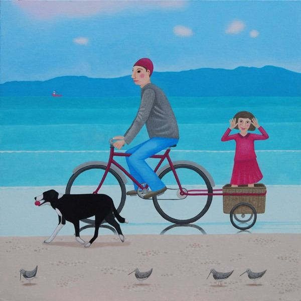 A man and a wee girl with the dog cycle on the beach while the tide goes out in this painting by Scottish Artist Ailsa Black.