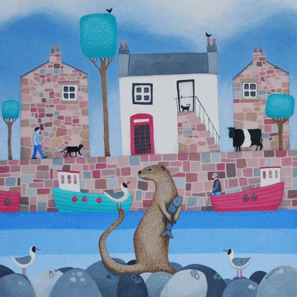 A painting of an otter holding a fish in front of a small coastal village with black headed gulls.