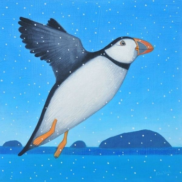 A puffin flies through the air in this snow scene painting by Ailsa Black