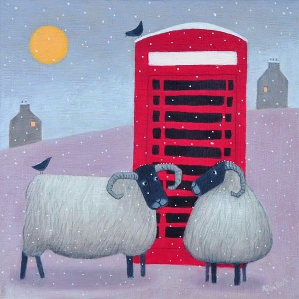 Black faced sheep and a red telephone box in this painting by Ailsa Black.
