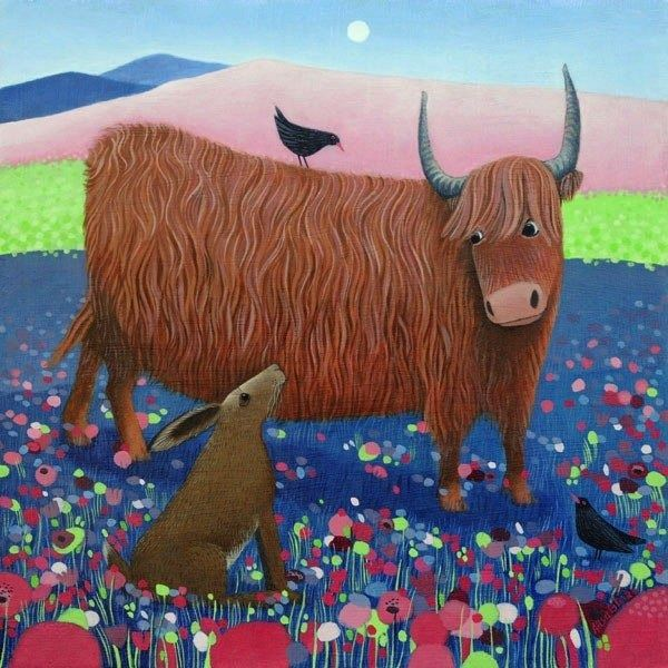 a painting of a colourful highgland scene with a highland cow and a hare by ailsa black