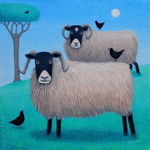 a painting of two fluffy wooly sheep by ailsa black