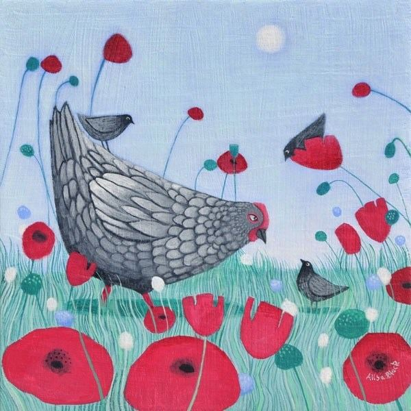 A painting of chickens and her chicks with red poppies