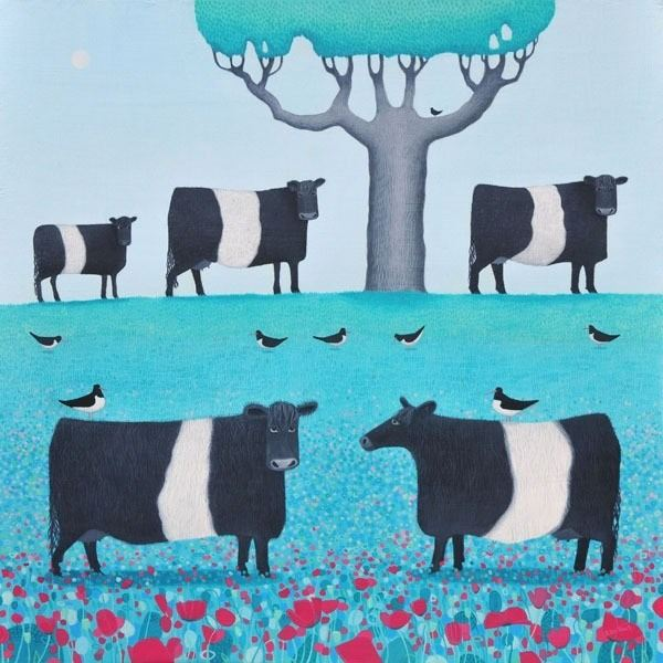 a painting of belted galloway cows by scottish artist ailsa black