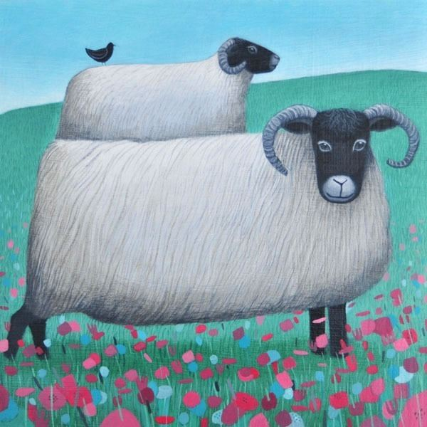 a painting of sheep in a field of flowers by ailsa black