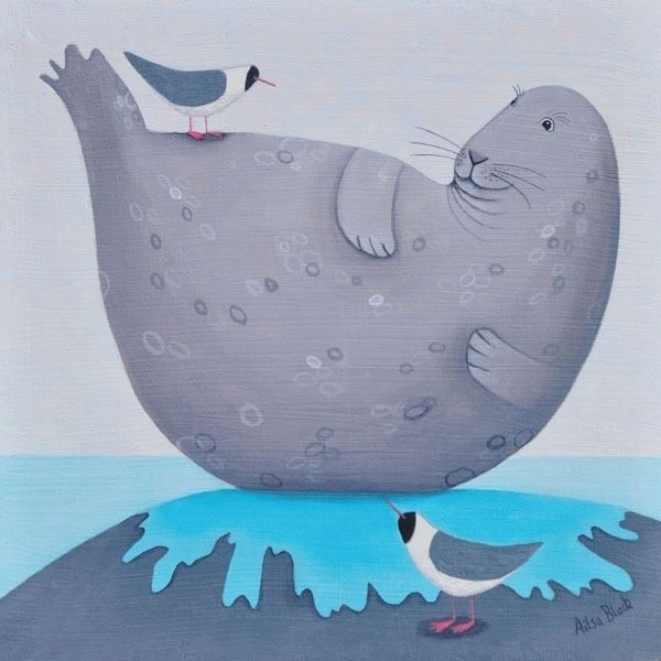 a painting of a fat seal by scottish artist ailsa black