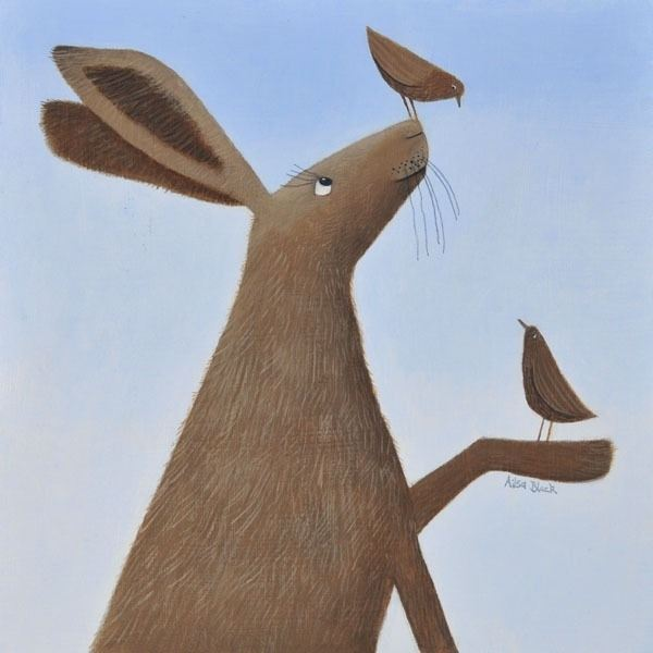 a painting of a hare balancing birds on its feet by ailsa black