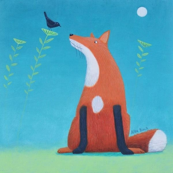 a painting of a friendly fox and a blackbird having a chat by artist ailsa black