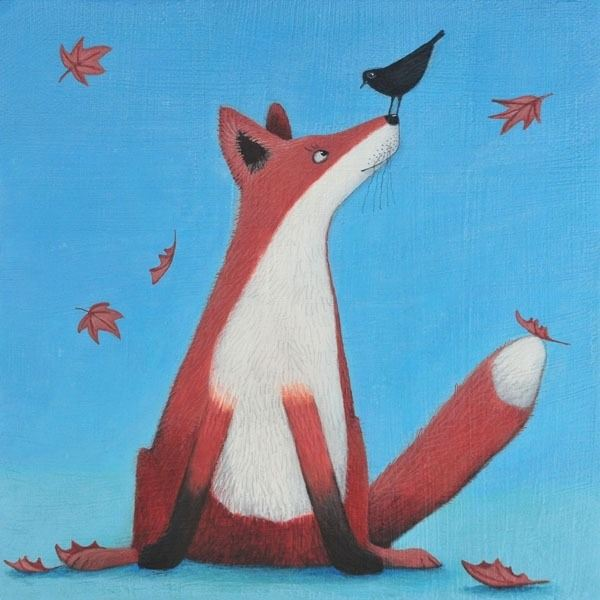 an autumnal painting of a fox and a blackbird chatting by ailsa black