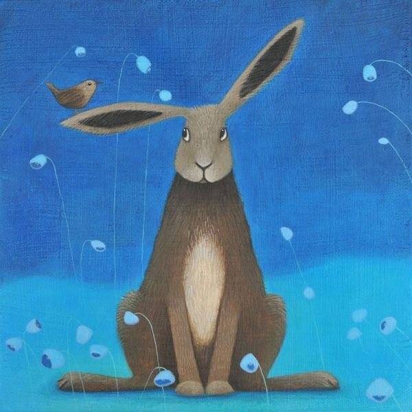 a painting of a hare on a blue background from scottish artist ailsa black