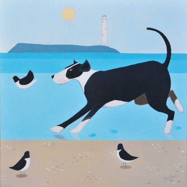 a painting of a dog running on the beach by ailsa black