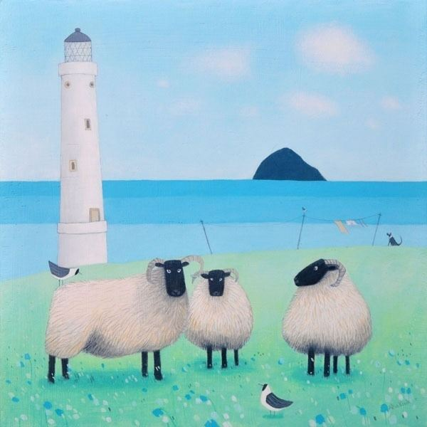 a painting of two sheep grazing by a scottish  lighthouse by scottish artist ailsa black