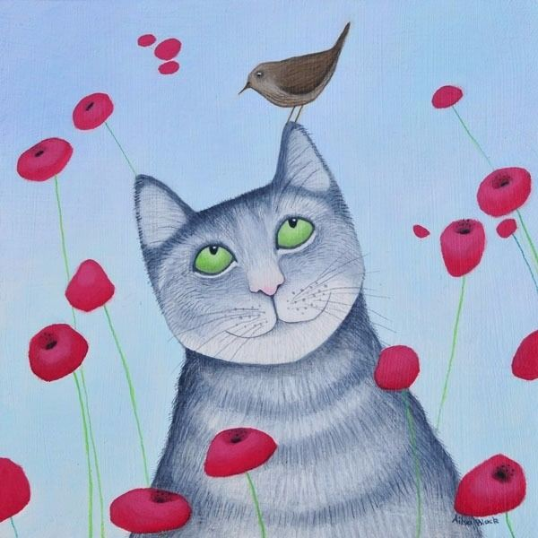 a comissioned painting of a cat balancing a wren on its rear by ailsa black