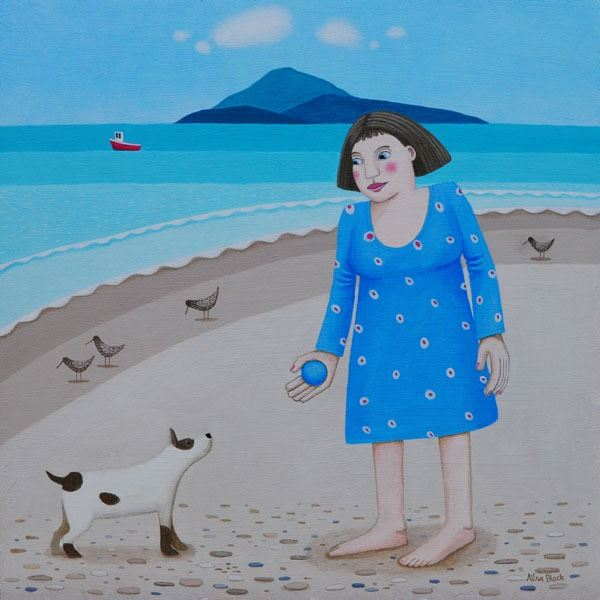 A woman on the beach with her jack russel and his blue ball - a painting by a Scottish Artist.