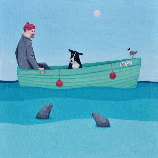 A man and his collie dog in a small boat at sea a painting by Scottish Artist Ailsa Black