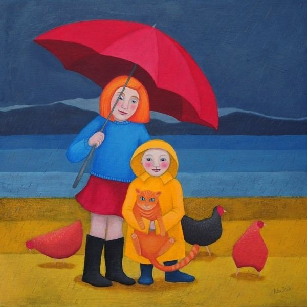 Two children. their cat and some chickens on the beach in this colouful painting by Ailsa Black