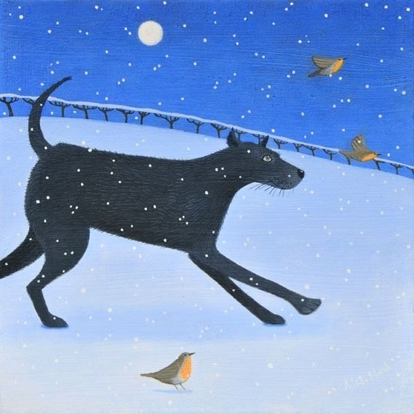 A pinting of a black dog running through the snow in this snow scene painting by Ailsa Black.